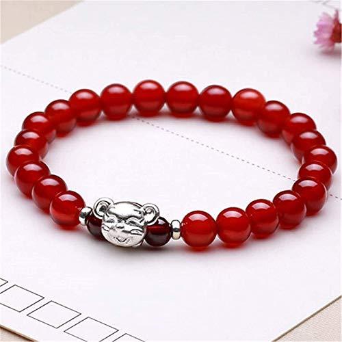 Feng shui riqueza pulsera natural cornaliano rojo ágata amuleto pulsera prosperidad curación cuentas de cristal con 999 rata de plata pura atrae buena suerte amor brazalete regalo para mujeres / hombr