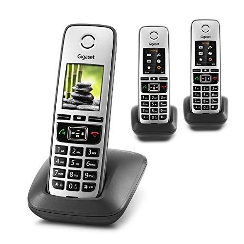 Gigaset Family Trio – 3 schnurlose Telefone mit großem, farbigem Display und hoher Reichweite – anthrazit-grau