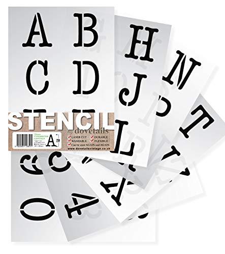 Dovetailes vintage 7 cm hoge alfabet sjablonen grote letters/cijfers 0-9 typewriter hoofdletters op 6 vellen 29,5 x 20 cm