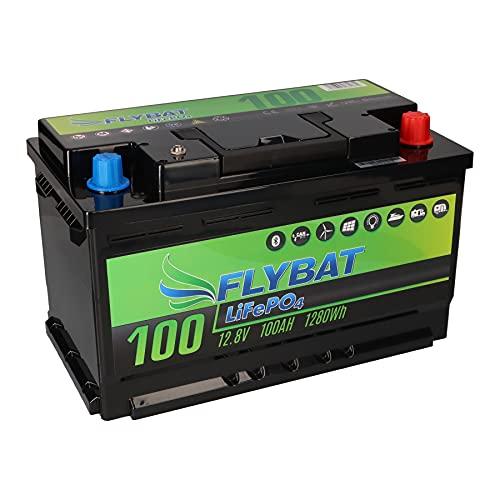 Batería LiFePO4 de 12 V (12,8 V) y 100 Ah, incluye Bluetooth y batería de alimentación CanBus para barco, yate, caravana, etc.