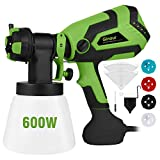 Paint Sprayer for Home, Ginour 600W Hvlp Spray Gun, Electric Paint Sprayers with 5 PCS Filter Papers, 4 Nozzles, 3 Spray Patterns, 1000ml Container for Home and Outdoors, Painting Projects