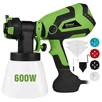 Paint Sprayer for Home Ginour 600W Hvlp Spray Gun Electric Paint Sprayers with 5 PCS Filter Papers 4 Nozzles 3 Spray Patterns 1000ml Container for Home and Outdoors Painting Projects