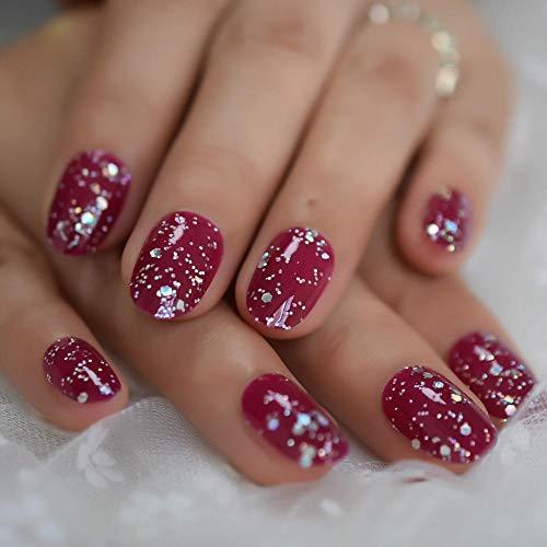 Uñas postizas Brillo Rosa Púrpura Rojo Uñas postizas Uñas postizas redondas plateadas Presione sobre geles UV Cubierta completa Nail Art Tip