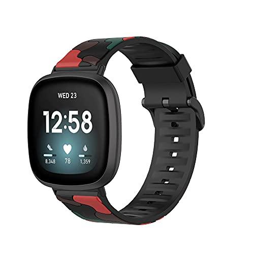 Correa de repuesto de silicona compatible con Fitbit Versa 3 / Sense, correa deportiva a prueba de sudor de camuflaje compatible con Fitbit Sense / Versa 3 mujeres hombres pulseras