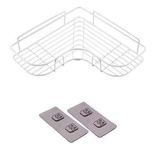 Estantes de baño con pegatinas, organizador de ducha sin perforación, organizador de ducha, con cesta resistente al óxido de acero inoxidable para cocina (blanco)