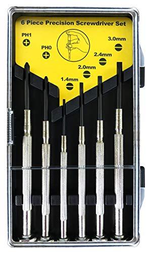 Mini Schraubenzieher Set für Präzisionsreparaturen mit gehärteter Spitze geeignet für Handy, Laptop, PC, Brillen, Uhren und vieles mehr (6 teilig) (Silber)