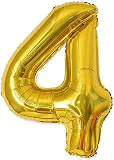 40 Inch Number 4 Balloon Glittering Golden Color Grand Size for Special Occasions and Birthday Wedding Anniversary Decorat...