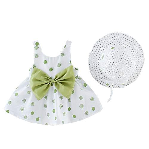 Janly - Vestido de princesa para niñas de 0 a 10 años, con estampado de puntos, verde, 6-12 meses