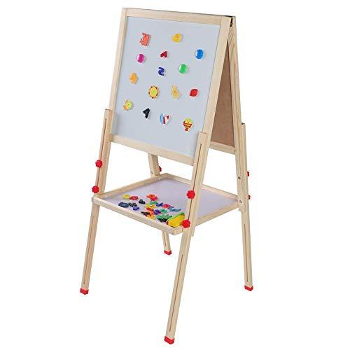 Kinder Staffelei, 3-in-1Magnettafel Spiel-Tafel, Doppelseitige Höhenverstellbar Holz staffelei für kinder, 26-45 Zoll Einstellbare, mit Zubehör für Kinder zum Spielen