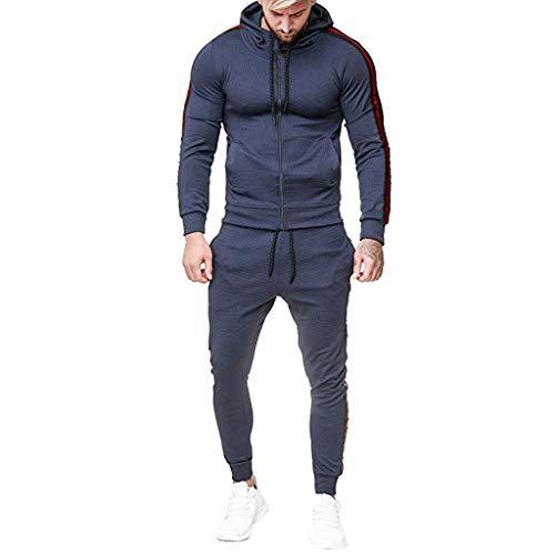 Stoota Men's 2020 Autumn Winter Sport Suit Tracksuit, Casual Stripes Solid Color Sweatshirt Top Pants Sets Red