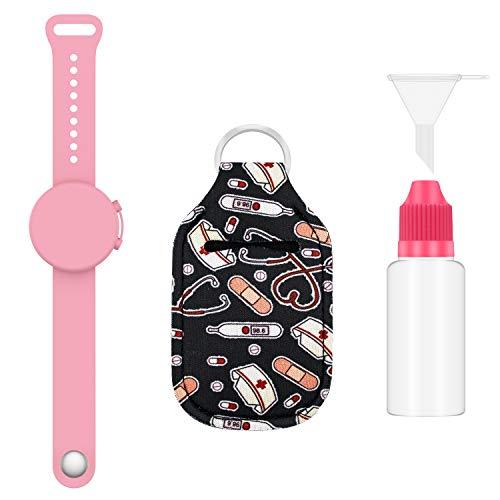 ZUXNZUX Braccialetto Disinfettante, Bracciale dispenser in silicone liquido riempibile, Braccialetto per dispenser a mano, portatile per Adulti e Bambini (Rosa)