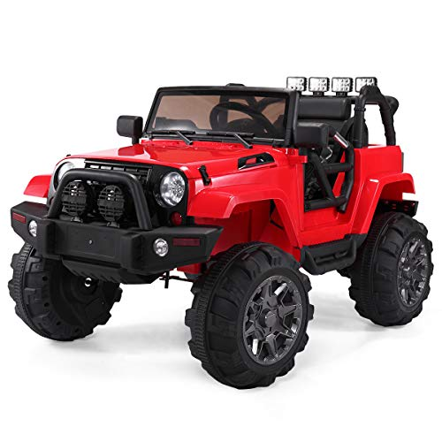 Sandinrayli Red Kids Ride On Jeep Style Battery Powered Electric Car w/ RC Remote Control