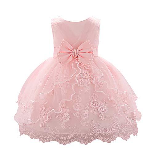 LPATTERN Baby Mädchen Festkleid- Prinzessin A-Linie Schleife- Tüllkleid mit Blumen-Stickerei, Hellrosa, Gr. 86(Herstellergröße: 90cm)