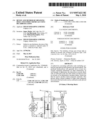 Device and method of obtaining diols and other chemicals using decarboxylation: United States Patent 9957622