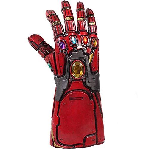Iron Man Infinity Gauntlet Tony Stark Thanos Guanti in lattice con Energy Gem Endgame Movie Costume Cosplay Replica per adulti Uomini Fancy Dress Merchandise del partito Halloween (Rosso con Led)
