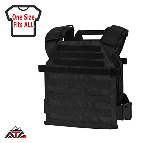 "WarTechGears Tactical Fast Vest 10""X12"" MOLLE and PALS Fully Adjustable Law Enforcement (Black)"