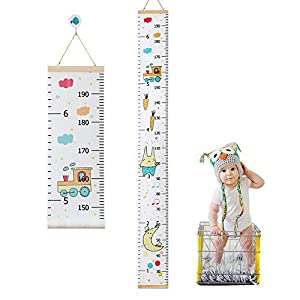 KOWUEN Height Chart for Kids, Upgrade Removable Baby Growth Chart for Wall, Premium Canvas Height Measurement Ruler for Baby Nursery Decor, Baby Shower