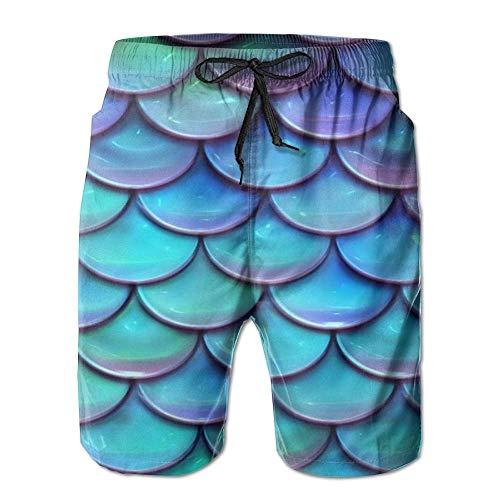 Aqua + Turquoise zeemeermin of draken weegschalen afdrukken mannen zachte korte strand broek met zakken