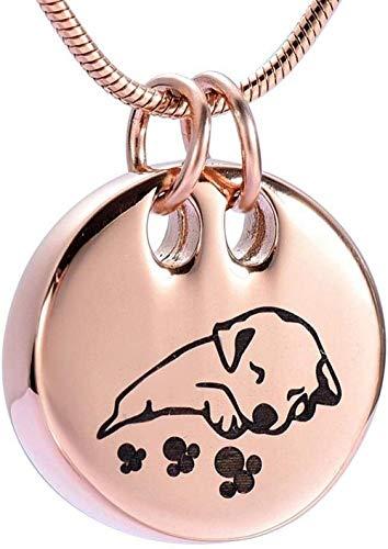 YXYSHX Precioso Perro Durmiente Collar de cremación para Mascotas Memorial Cenizas urna Colgante joyería Recuerdo + Servicio de Grabado Gratuito-C