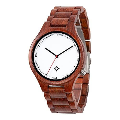 Relojes de madera para hombres, Diámetro 35cm Reloj de madera de sándalo rojo natural natural con caja de regalo de madera, uso para Navidad, Cumpleaños, Aniversario, Día del Padre, Ceremonia de Gradu