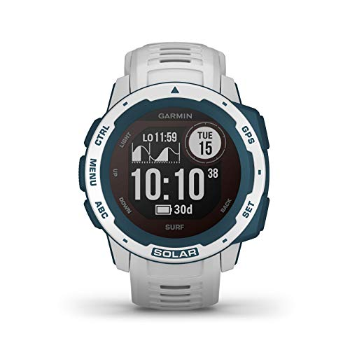 Oferta de Garmin Instinct Solar Surf, Reloj GPS resistente con carga solar - Blanco