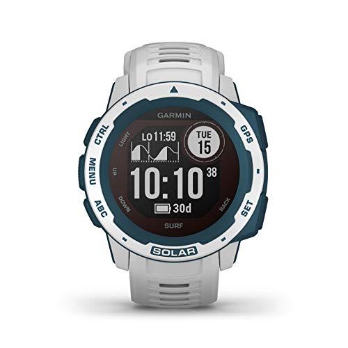 Garmin Instinct Solar, Surf Edition, Cloudbreak - Smartwatch Gps Ultra-Resistente con Ricarica Solare, Cardio, Pulseox, App Surf e Multisport