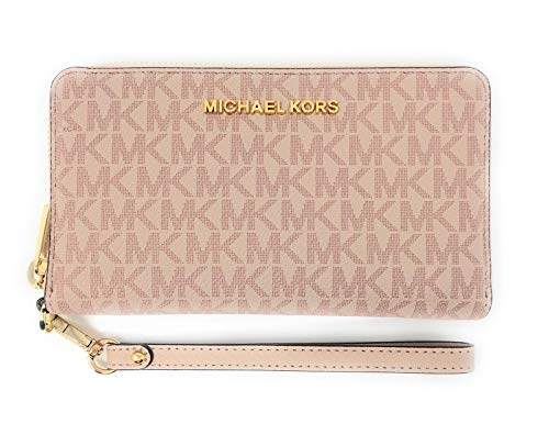 Michael Kors Jet Set Travel Large Flat Multifunction Phone Case Wristlet (Ballet PVC)