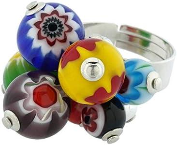 GlassOfVenice Anillo de cristal de Murano, Millefiori Sorgente, multicolor