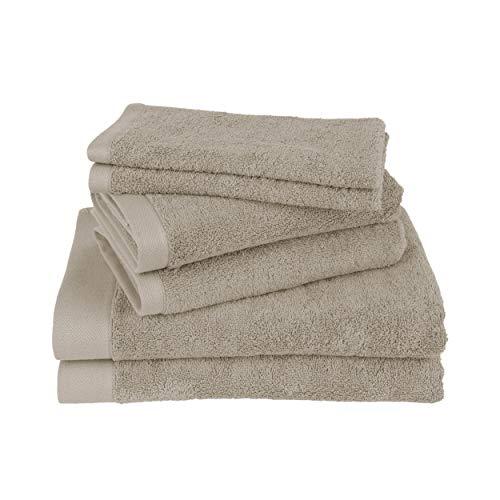 Juego de toallas Clarysse de 6 piezas, juego de toallas de baño de calidad superior, 100% algodón peinado, calidad de hotel, juego de baño, marca belga 500 g/m2, piedra, set de regalo