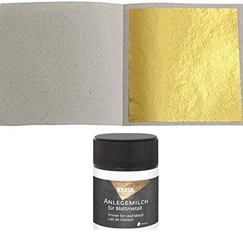 50 Blatt Blattgold (Imit.) Blattmetall Schlagmetall 4,8 cm x 4,8 cm + 1 x Anlegemilch 50ml