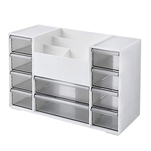 Home Equipment Desk Storage Box Multifunctional Desktop Management Organizer Makeup Storage Box Collection for Home School Office Supplies Bedroom for Home Office (Color : Gray Size : 30.5X13X19.5c