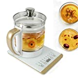 2L Multifunctional Glass Health Pot Portable Electric Kettle Smart Touch Screen Control Panel Base, Includes Filter, Egg Cooker and Keep Warm Function Water Pot Kettle
