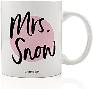 Mrs. Snow Mug, You Know Nothing Jon Snow Fan GOT Winter is Night's Watch Crow House Stark Love Birthday Gift Idea for Her Mom Friend Young Woman 11oz Ceramic Tea Coffee Cup Digibuddha DM0217