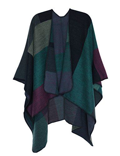 DiaryLook Ladies Printed Poncho Cape Reversible Oversized Shawl Wrap Open Front Cardigans for Women