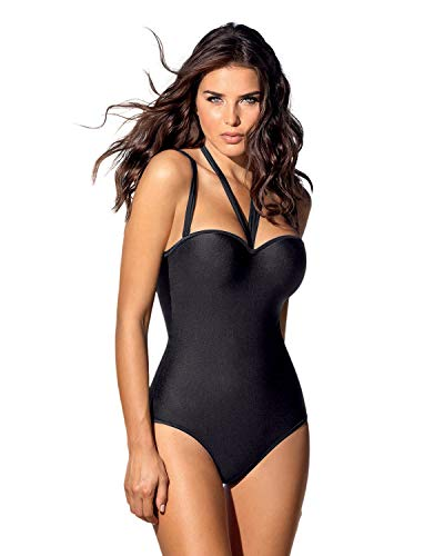 One Piece Strapless Swimsuit With Tummy Control,Black,36 /L