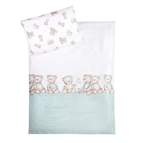 Julius Zöllner Parure de lit pour Enfant - 100 % Coton - 100 x 135 cm et 40 x 60 cm - Fabriqué en Allemagne - Motif oursons et Menthe