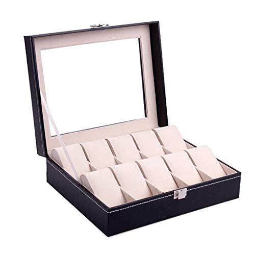 CTRGSM Caja de joyería de 25 x 8 x 20 cm caja de almacenamiento de reloj a prueba de polvo negro caja de acabado de cuero pu reloj de visualización de leilims