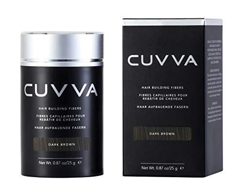 CUVVA Hair Building Fibers for Thinning Hair (DARK BROWN) - Keratin Hair Loss Concealer - Thicker Hair in 15 Seconds - 0.87oz Bottle - For Men & Women