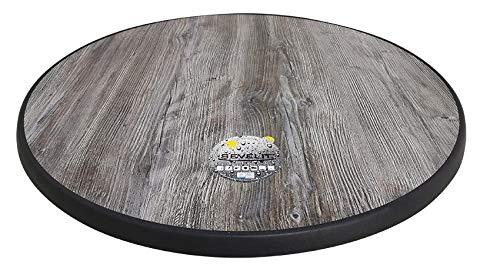 Sevelit Tischplatte im Vintage Pine Design, Pine, Holz, Holzoptik rund, 85cm, wetterfest, schlagfeste Tischkante, Tischplatten ideal als Ersatzteil und zum Nachrüsten