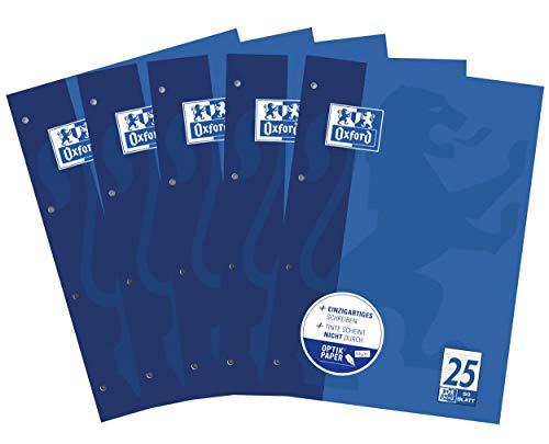 Oxford Schule Schulblock A4, liniert mit Rand, 50 Blatt, blau, 5er Pack