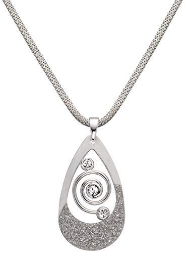 Perlkönig Schlangen Kette Halskette | Damen Frauen | Tropfen förmig in Silber | Glitzer Stein | Glänzend Matt | Karabiner | Nickelabgabefrei
