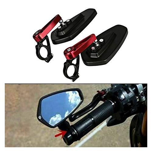 ZHJKK 2 unids Red Universal Motorcycle Mirror Scooter Bicicleta eléctrica Retrovisor Espejo Claramente Giratorio Ajustable (Color : Red)
