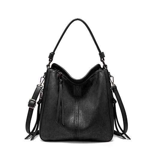 ❤️Classic Hobo Purse: Top zipper closure, with 2 side zipper pockets design and elegant tassels decoration, fashionable and practical handbags for women ❤️Updated Women Handbags: High quality PU leather, Reinforced shoulder strap and improved zipper ...