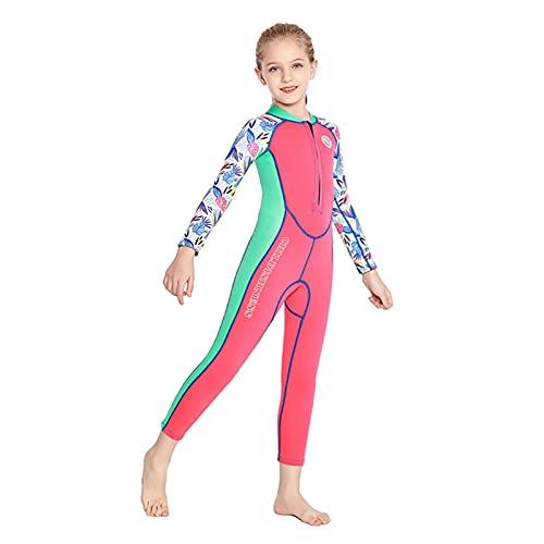 Zeraty Traje de baño térmico de neopreno de 2 mm para niños y niñas, de manga larga, traje de buceo térmico para deportes acuáticos
