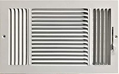 """HBW 14""""x 8"""" (Duct Opening Size) 3-Way Stamped Face Steel Ceiling/sidewall Air Supply Register - Vent Cover - Actual Outside Dimension 15.75"""" X 9.75"""""""