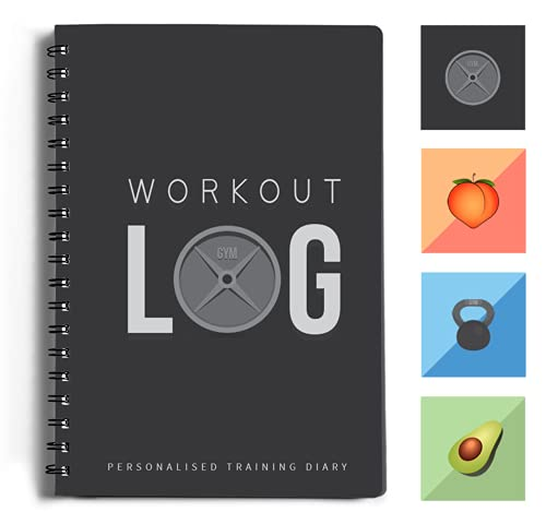 Workout Log Gym - 6 x 8 Inches - Gym, Fitness and Training Diary- Set Goals, Track 100 Workouts and Record Progress - Charcoal Gray