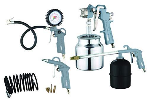 ABAC Kit de Herramientas Neumáticas 8 Piezas G-810AL (Pistola Pulverizadora de Pintura + Pistola de Lavado + Pistola de Aire + Manguera Espiral + Inflador de Neumáticos + 3 Puntas de Inflado)