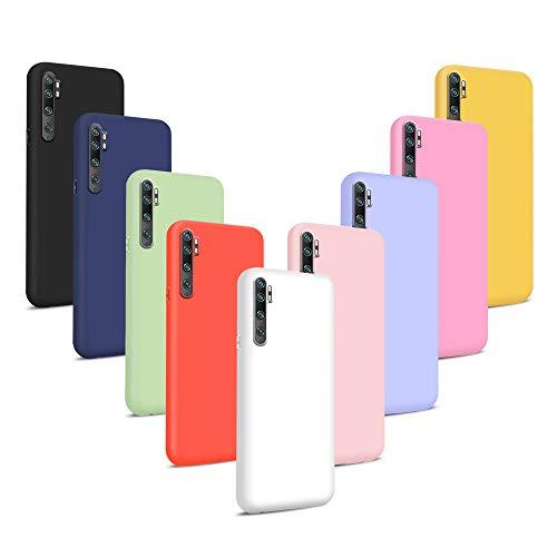 9X Funda para Xiaomi Mi Note 10/ CC9 Pro, Cover Trasero Flexible Suave Delgado TPU Silicona Protección Cáscara (Rojo + Rosa Claro + Púrpura + Amarillo + Rosa Oscuro + Verde + Negro + Azul Oscuro)