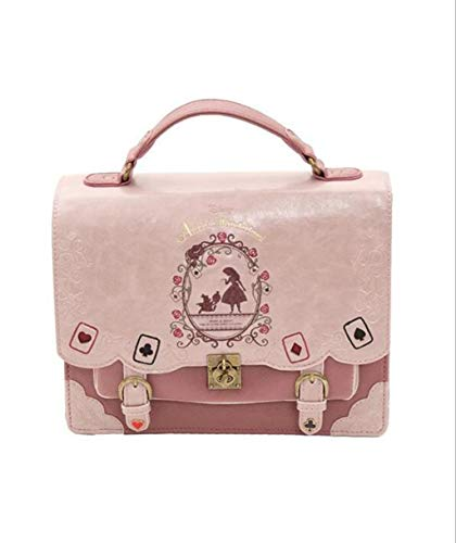 MYMAO Frauen-Beutel-Rucksack Damen Umhängetasche Small Square Bag Handtasche Alice Im Wunderland Poker Karten Lolita Tasche,Rosa