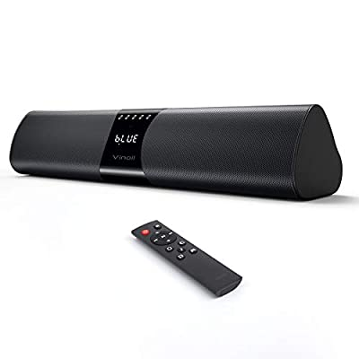 PC Soundbar, 20W Bluetooth Computer Speaker, Wired and Wireless Mini TV Soundbar for Desktop Laptop, Portable Soundbar,USB Powered, 3D Surround Sound, Built-in Microphone, 3.5mm Aux Input & TF from Vinoil